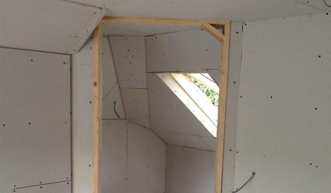 Plasterboard before plastering