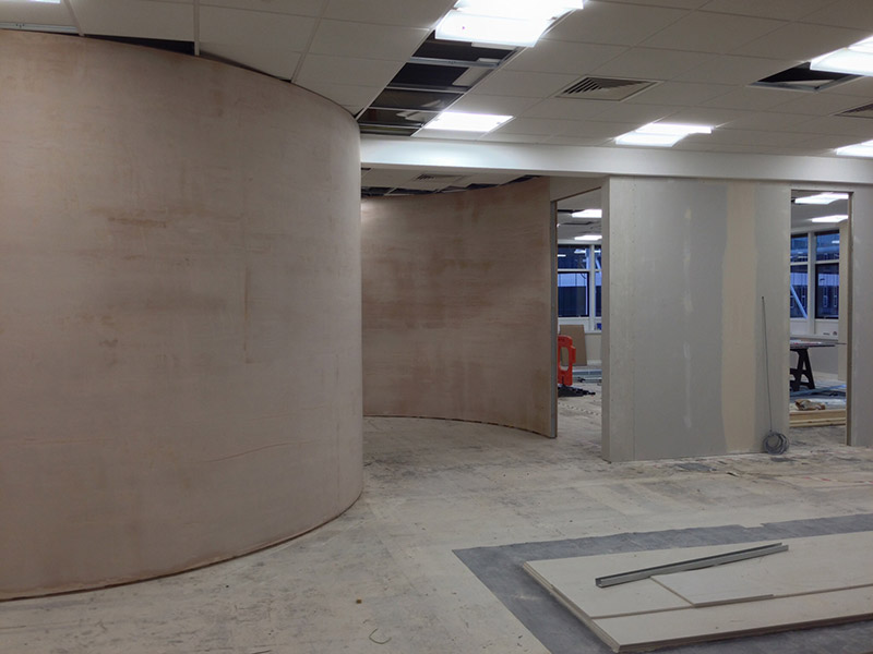 curved plastered walls